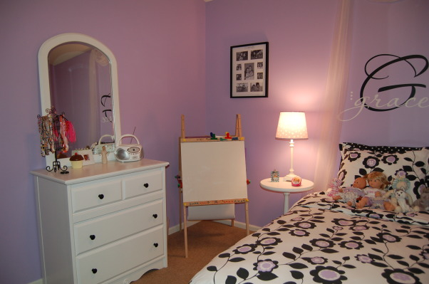 A big girl room for my 6 year old, This purple, black, and white themed room was a surprise birthday present for my 6 year old daughter.  I used LOTS of ideas from many different rooms on Rate My Space.  Thank you to everyone for your wonderful ideas! My daughter loved it!, We refinished the stained furniture by painting it white. , Girls' Rooms Design