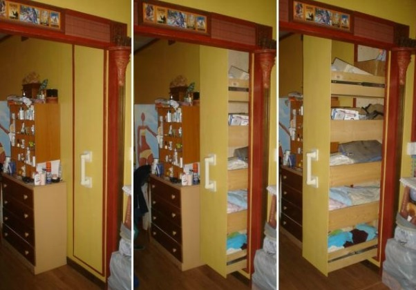 Floor to ceiling pull out closet, Closet measures: 7 feet X 18 inches X 3 feet. Consisting of 5 very long drawers which you can reach into very comfortably., Here you can see in these progression of shots, how the closet looks when you pull on the handle. , Closets Design
