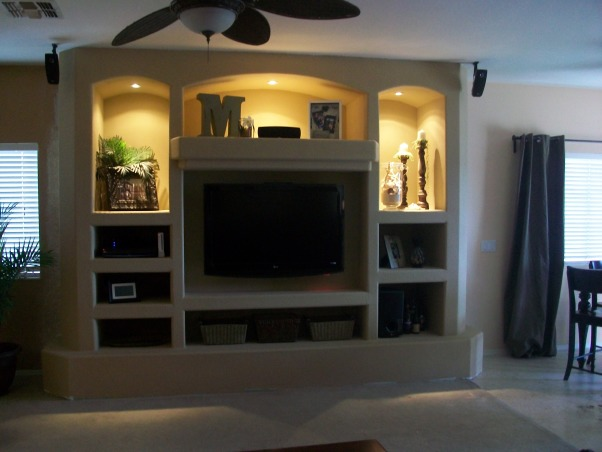 built in entertainment center for our living room built in drywall