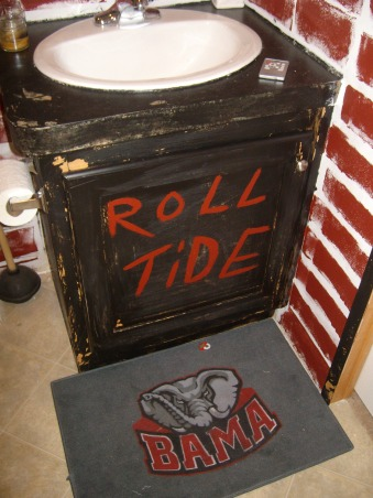 Bama Bathroom, This is my middle childs bathroom.  I will say I am an  LSU Fan.  Please let me know what you think of my creativity., When in doubt DISTRESS IT, Bathrooms Design