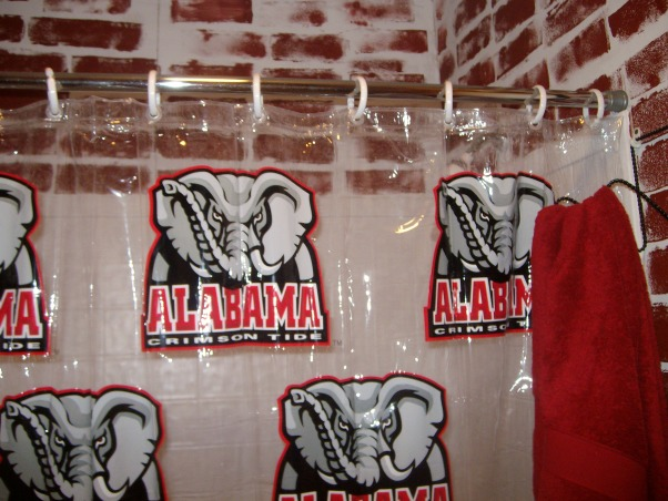 Bama Bathroom, This is my middle childs bathroom.  I will say I am an  LSU Fan.  Please let me know what you think of my creativity., Last shower curtain in town for Christmas., Bathrooms Design