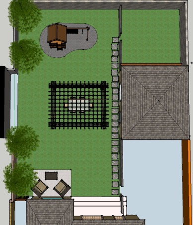 Ugly Backyard Needs Help, We bought our home 3 months ago and we have a backyard that is ~2000 sqft. but its empty, dirt everywhere with tons of weeds growing all over the place.  We need some ideas.  We want a nice space for our 3 young children and our German Shepard.  Budget is very tight with about $500 right now and about $100 a month to invest.  Current plan is to till the ground, grade for runoff and seed grass. We're able to put in the time and effort necessary to get this done, but we're both completely unexperienced and have no imagination., Concept design recommended by waterbaby as I visualize it.      , Yards Design