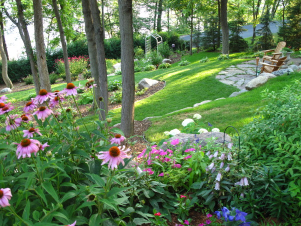 Pleasant view gardens, Waterfalls and ponds amongst the perennial gardens, backyard            , Gardens Design
