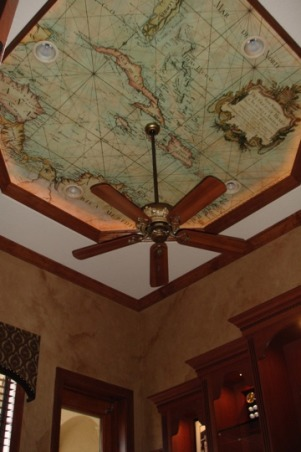 Old world home office, A home office/den. We faux finished the walls w/ a distressed look and had a custom canvas map mural made by Primal Colors installed on the ceiling by our local wallpaper guy., home office with distressed faux finished walls and custom canvas map on tray ceiling. We had Primal Colors make the map and our local wall paper guys installed it., Home Offices Design