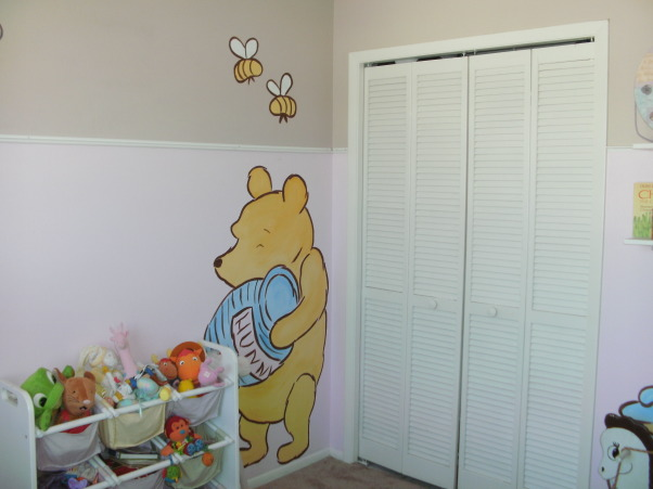 Marilynn Jane's room in pink and tan, and don't forget Pooh!, It's a 10'x10' Pooh paradise for our 22 month old daughter. The dual paint scheme was an idea from my best friend and the moulding was very inexpensive (around $15). Both Mommy and Daddy are artists but a projector would have worked as well. She loves her happy and bright room!, After  , Nurseries Design