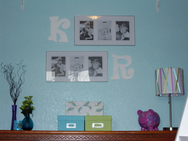 A Little Bit Cowgirl, This is a room for 9 and almost 11 year old sisters who live on a 30 acre horse ranch and love to ride horses. They agreed on a turquoise room and I threw in lime green for one and purple for the other., Closer view of the picture frames and initials. These will hold pictures of the girls with their horses that are taken as black and white pictures, but will be colored lime green, turquoise, and purple. One of each color in each frame., Girls' Rooms Design