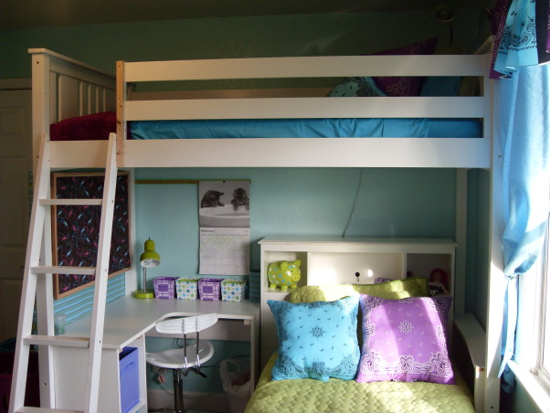 A Little Bit Cowgirl, This is a room for 9 and almost 11 year old sisters who live on a 30 acre horse ranch and love to ride horses. They agreed on a turquoise room and I threw in lime green for one and purple for the other., This shot shows both beds., Girls' Rooms Design
