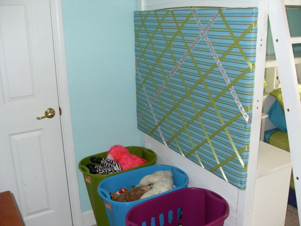 A Little Bit Cowgirl, This is a room for 9 and almost 11 year old sisters who live on a 30 acre horse ranch and love to ride horses. They agreed on a turquoise room and I threw in lime green for one and purple for the other., This is the photo memo board that I made for the end of the bed and the 3 laundry hampers (2 for toys and stuffed animals and 1 for laundry), Girls' Rooms Design