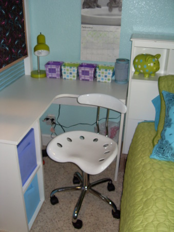 A Little Bit Cowgirl, This is a room for 9 and almost 11 year old sisters who live on a 30 acre horse ranch and love to ride horses. They agreed on a turquoise room and I threw in lime green for one and purple for the other., A better shot of the super cute tractor seat desk chair from Walmart., Girls' Rooms Design