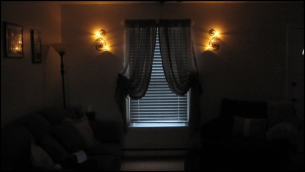 Teeny-Tiny Living Room, Sconces lit up  , Living Rooms Design