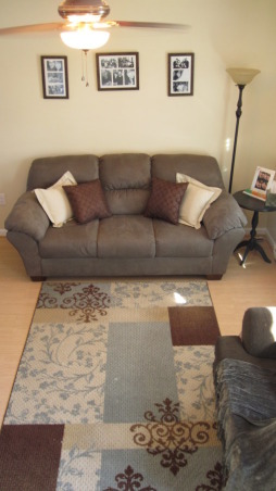 Teeny-Tiny Living Room, After: We switched out the ugly pillows that came with the couch to these brown ones... , Living Rooms Design