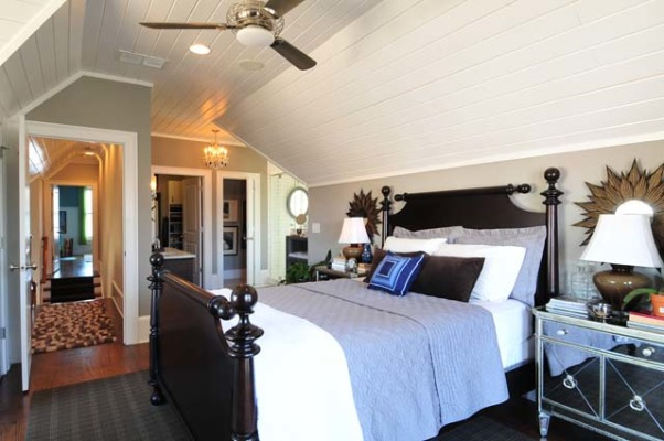 Cottage Master Suite with Open Bathroom, Set within the eaves of a front-gable Victorian cottage, this master suite has an open bedroom/bathroom concept, complete with a Japanese soaking tub., Bedroom from different angle., Bedrooms Design