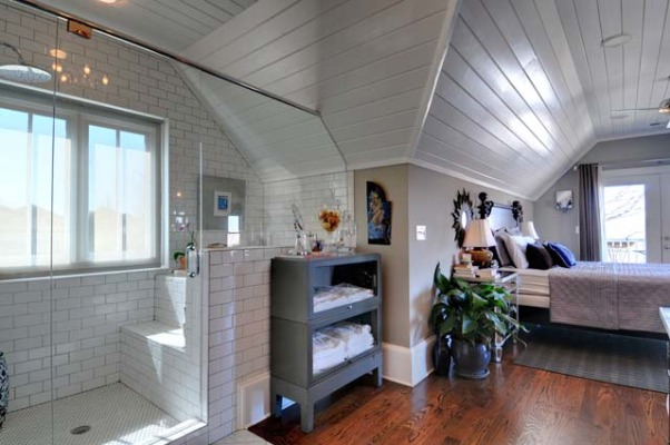 Cottage Master Suite with Open Bathroom, Set within the eaves of a front-gable Victorian cottage, this master suite has an open bedroom/bathroom concept, complete with a Japanese soaking tub., Old metal barrister bookcase used for towel storage..., Bedrooms Design