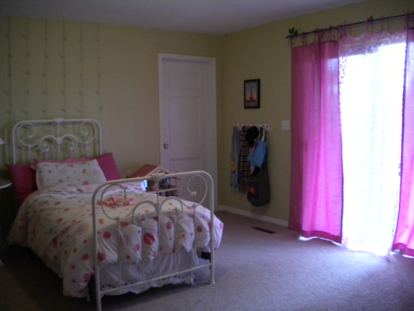 Inexpensive Teen Room, My bedroom walls have been white since I moved into this space. I am particularly interested in interior design, so I decided a bedroom project would be fun. Paint: Pale Avocado from Benjamin Moore., View of room w/ out lights on.    , Girls' Rooms Design