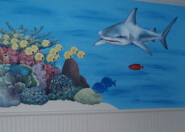Ocean Bedroom, Fun, boys ocean themed bedroom, wall murals, bunkbeds, cool shark rug, coral reef and sea turtles, sharks and fish., Boys' Rooms Design