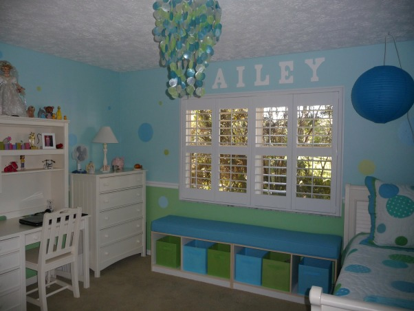 9 Year Old Daughter's New Tween Bedroom, We remodeled our daughter's bedroom for her 9th birthday.  She is stepping out of the butterflies and flowers stage into a fun almost tween girl!  The new plantation shutters really clean up the room and give more space., Seating Area , Girls' Rooms Design