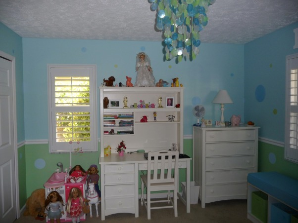 9 Year Old Daughter's New Tween Bedroom, We remodeled our daughter's bedroom for her 9th birthday.  She is stepping out of the butterflies and flowers stage into a fun almost tween girl!  The new plantation shutters really clean up the room and give more space., Kept the American Girl Dolls for now! , Girls' Rooms Design
