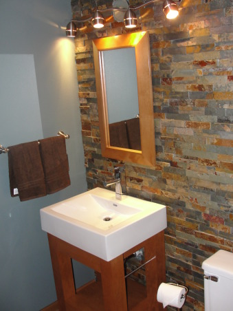 Stunning Stacked Stone, From blah to spa! We took our average, builders grade bathroom and turned it into something uniquely our own. The stacked stone tile (Erth Coverings) was the inspiration for this project. The rest of the colors and design elements simply fell into place. Still can't believe two 24-year olds did this (my husband and I just got married!)., Bathrooms Design