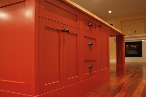 Burst of color..., This is a kitchen that was in a custom home we completed. The clients were a lot of fun and wanted that to show through with the finishing, including the orange island! Hope you enjoy the images. :) Check out my other spaces and come see my blog... http://verandainteriors.blogspot.com/, View of the orange island with shaker style cabinetry, venetian bronze knobs, and the maple butcher block top.  , Kitchens Design