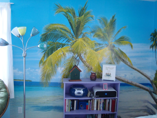 Teen beach room, I got a great wall mural and surf board to make me feel like I'm at the beach all the time:), Girls' Rooms Design