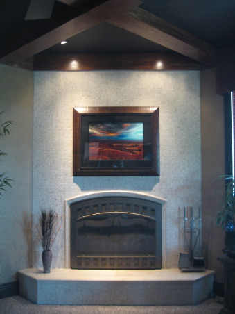 Mantle-less Fireplace, Natural stone fireplace on an angle wall wtih a coffered ceiling above. Fireplace features a raised hearth and no mantel., Living Rooms Design