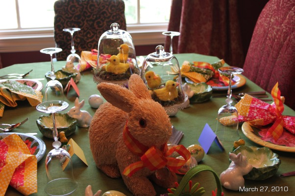 Easter Brunch Decor, Table settings for Easter Brunch, Raffia Bunnty on the main table , Holidays Design