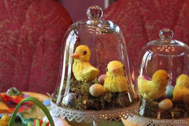 "Easter Brunch Decor, Table settings for Easter Brunch,  ""Duck under Glass""  I placed tiny duckies and eggs with moss under pastry glass and stand for the centerpeices on the main table., Holidays Design"