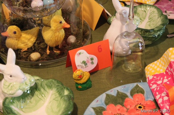 Easter Brunch Decor, Table settings for Easter Brunch, Tiny hand painted china heart magnets attached to numbered place cards made a nice table gift for everyone.  Set along side a chocolate chickbird., Holidays Design
