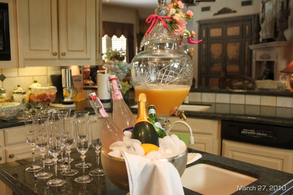 Easter Brunch Decor, Table settings for Easter Brunch, Peach Bellini's in a decanter on the Kitchen island made it easy for guests to re-fill their own drinks, Holidays Design