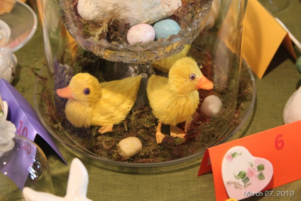 Easter Brunch Decor, Table settings for Easter Brunch, Little duckies under glass with candy eggs, Holidays Design