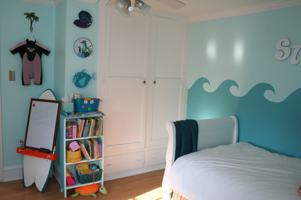 Ava's Surfer Girl Room, Little girl's surfer girl room done in teal with pops of orange and yellow. Terry cloth pillow covers, tiki hut valances and other fun details. , Girls' Rooms Design