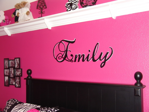 Pink and Black Teen Zebra Girls Bedroom, Pink and Black Girlie Teen Zebra Bedroom, Hand painted her name in a script above her bed; then highlighted it with white.     , Girls' Rooms Design