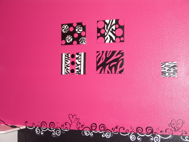 Pink and Black Teen Zebra Girls Bedroom, Pink and Black Girlie Teen Zebra Bedroom, Canvas artwork - I painted something simple to coordinate with the room.     , Girls' Rooms Design