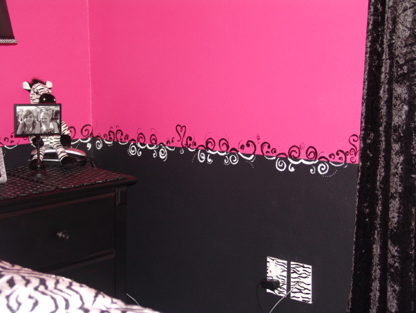 Pink and Black Teen Zebra Girls Bedroom, Pink and Black Girlie Teen Zebra Bedroom, More of my border - added different kinds of hearts.     , Girls' Rooms Design