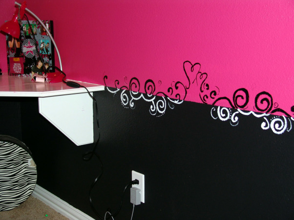 Pink and Black Teen Zebra Girls Bedroom, Pink and Black Girlie Teen Zebra Bedroom, I couldn't find a border I liked - or one that would match - and my husband refused to put in a chair railing, so I hand-painted one.     , Girls' Rooms Design