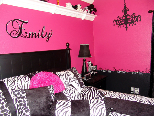 Pink and Black Teen Zebra Girls Bedroom, Pink and Black Girlie Teen Zebra Bedroom, I found the bedding at etcity.com - very inexpensive.  It has black and white zebra and giraffe - velveteen.     , Girls' Rooms Design