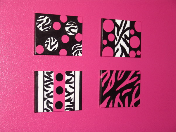 Pink and Black Teen Zebra Girls Bedroom, Pink and Black Girlie Teen Zebra Bedroom, Close-up of the canvas artwork.     , Girls' Rooms Design