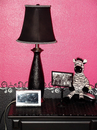 Pink and Black Teen Zebra Girls Bedroom, Pink and Black Girlie Teen Zebra Bedroom, I had an old lamp we had never used.  I painted it black and added the black and white trim - may add some white swirls to the lampshade.     , Girls' Rooms Design