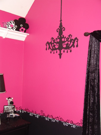 Pink and Black Teen Zebra Girls Bedroom, Pink and Black Girlie Teen Zebra Bedroom, Girls' Rooms Design