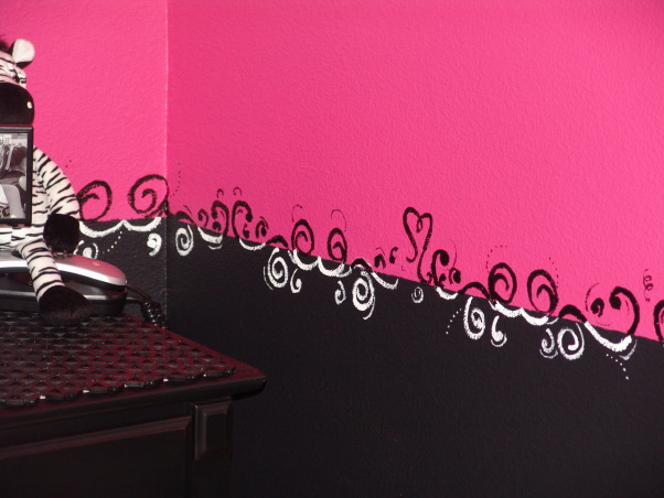 Pink and Black Teen Zebra Girls Bedroom, Pink and Black Girlie Teen Zebra Bedroom, Another close up of the swirly border.     , Girls' Rooms Design
