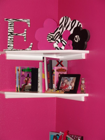 Pink and Black Teen Zebra Girls Bedroom, Pink and Black Girlie Teen Zebra Bedroom, Initial found at Hobby Lobby - I painted zebra stripes on it.  The flowers are cut out a styre-foam type material and heavy poster board - very inexpensive also.     , Girls' Rooms Design