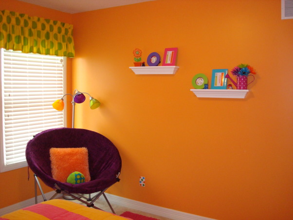 Bright & Colorful 4 year old's room, I wanted my 4 1/2 yr old daughter's room to fit her personality and I believe I accomplished that with this bright, cheery room! :), Hand me down round purple chair (from Target) & multi color light fit just right. Shelves from Ebay. Frames from Home Goods & Wal Mart. , Girls' Rooms Design