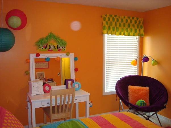 Bright & Colorful 4 year old's room, I wanted my 4 1/2 yr old daughter's room to fit her personality and I believe I accomplished that with this bright, cheery room! :), Still need to paint desk chair white to match and print pics for the frames. , Girls' Rooms Design