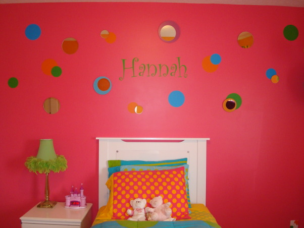 Bright & Colorful 4 year old's room, I wanted my 4 1/2 yr old daughter's room to fit her personality and I believe I accomplished that with this bright, cheery room! :), Vinyl letters & circles from Shadetree Graphics (on ebay). I found the circle mirrors on craigslist. , Girls' Rooms Design
