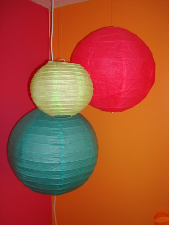 Bright & Colorful 4 year old's room, I wanted my 4 1/2 yr old daughter's room to fit her personality and I believe I accomplished that with this bright, cheery room! :), Chinese paper lanterns I found on ebay. , Girls' Rooms Design