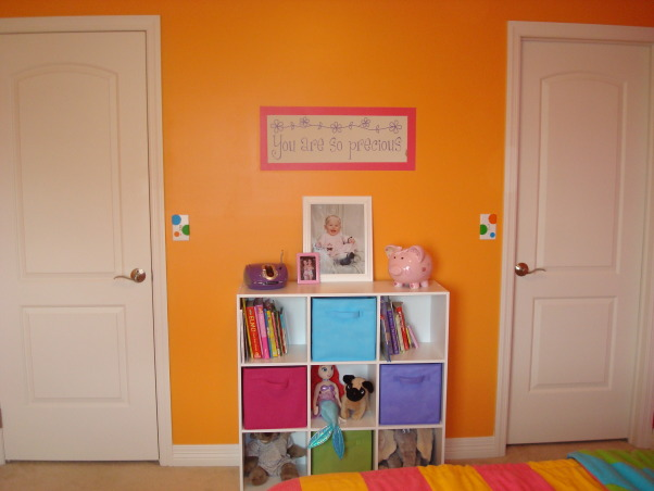 Bright & Colorful 4 year old's room, I wanted my 4 1/2 yr old daughter's room to fit her personality and I believe I accomplished that with this bright, cheery room! :), Used left over small dots on switch and outlet covers. , Girls' Rooms Design