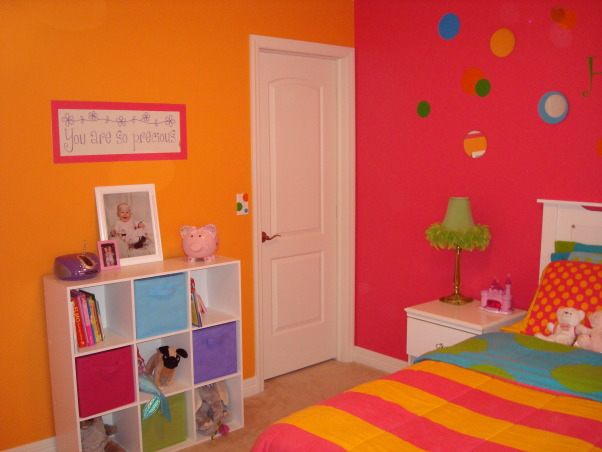 "Bright & Colorful 4 year old's room, I wanted my 4 1/2 yr old daughter's room to fit her personality and I believe I accomplished that with this bright, cheery room! :), Saying ""You are so precious"" was already there when we moved in. Since we always say that to our daughter and the color matched, I decided to keep it. Painted the pink border around it. , Girls' Rooms Design"