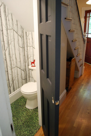 Under the Stairs Bathroom, The previous owners used this unvented bathroom as a kitty litter room.  We took it down to the studs and made it into what we feel like is an unexpected little bit of functional fun under the stairs., Bathrooms Design