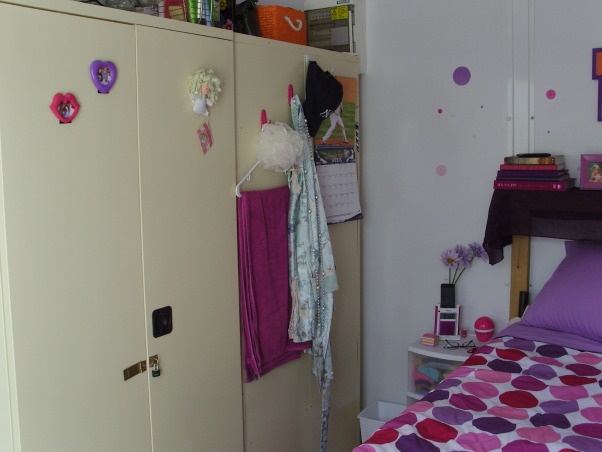 Ahhh CHU, My home away from home in Iraq - Containerized Housing Unit. Full of feminine color in a tan and olive drab world., Wall Lockers. , Dorm Rooms Design