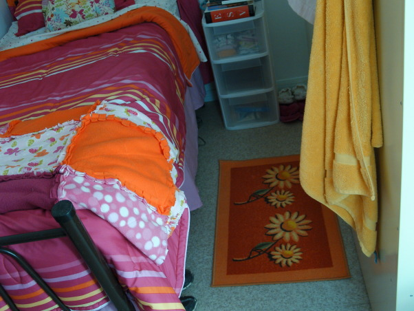 Ahhh CHU, My home away from home in Iraq - Containerized Housing Unit. Full of feminine color in a tan and olive drab world., My roommate's Iraqi rug. A rare, cute find over here., Dorm Rooms Design